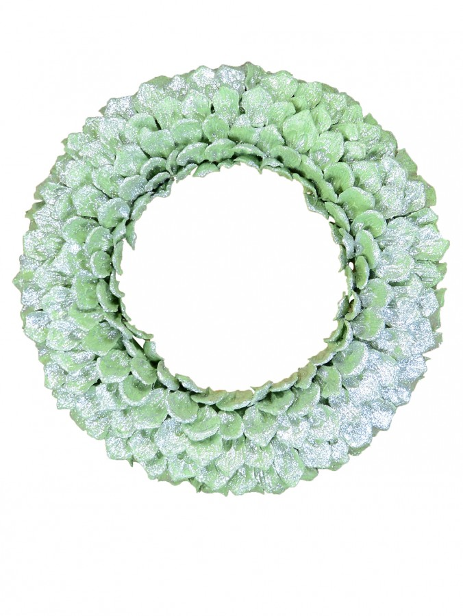 Mint Green Glittered Pine Cone Petal Wreath - 30cm