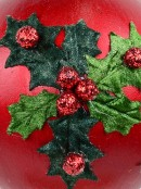 Green Antique Holly Red Bauble Christmas Tree Hanging Decoration - 11cm