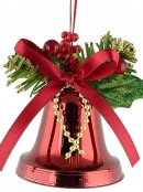 Hanging Decorative Red Christmas Bell Ornament - 3 x 50mm