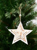 Natural & White Layered Wood Star Hanging Decoration - 15cm