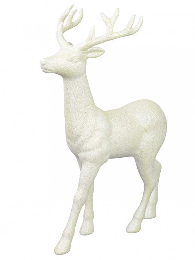 White & Iridescent Glittered Standing Reindeer Buck Ornament - 45cm