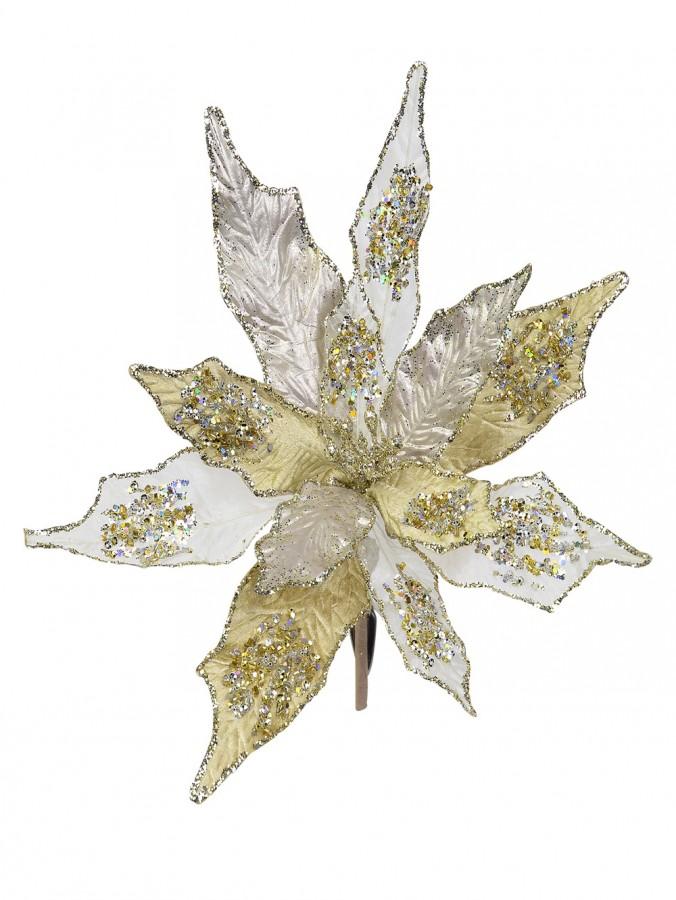 Gold & Platinum Poinsettia Clip On Pick - 22cm