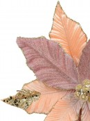 Three Style Pink & Rose Gold Decorative Poinsettia Floral Pick - 28cm