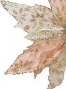 Pink Glittered Mesh & Fabric Leaf Decorative Poinsettia Floral Pick - 23cm