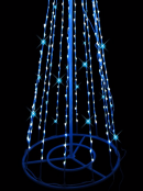 Blue & Cool White LED String 3D Conical Christmas Tree With Star - 2m
