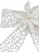 Iridescent Glittered Mesh Look Ribbon Bow Decoration With Poinsettia - 15cm