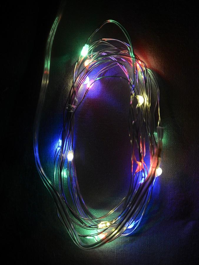 20 Multi Colour LED Micro Bulb Battery String Lights - 1m