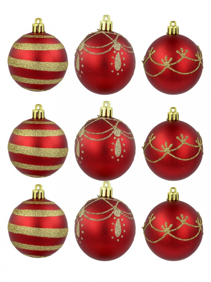 Red Baubles With Gold Stripe, Draped & Ornate Pattern Designs - 9 x 60mm