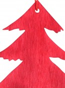 Red Natural Wood 2D Christmas Tree Hanging Decoration - 10cm