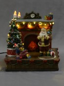 Animated & Illuminated Santa By The Fireplace Scene  - 20cm