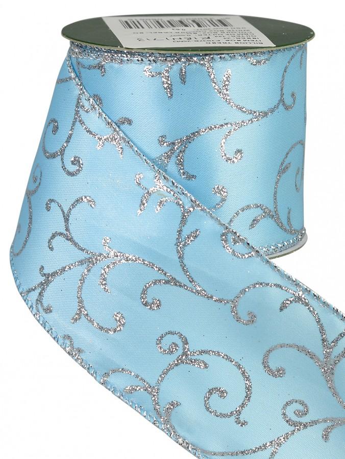 Tiffany Blue & Silver Filigree Design Ribbon - 3m