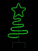 Green Neon Flex Wavey Christmas Tree Solar Powered Path Light - 48cm