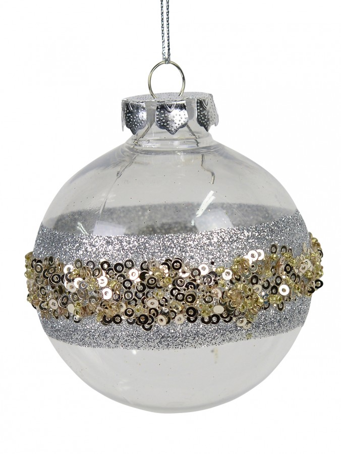 Clear & Silver Bauble With Silver Glitter & Gold Ball Embellishments - 80mm