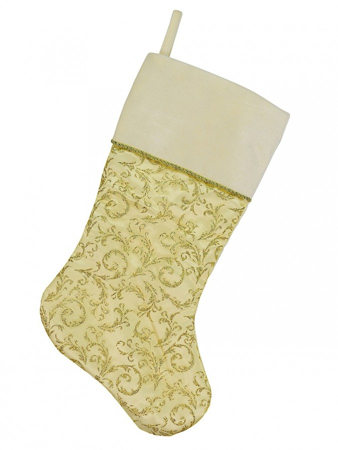 Sheer Gold Organza Stocking With Champagne Velvet Cuff - 48cm