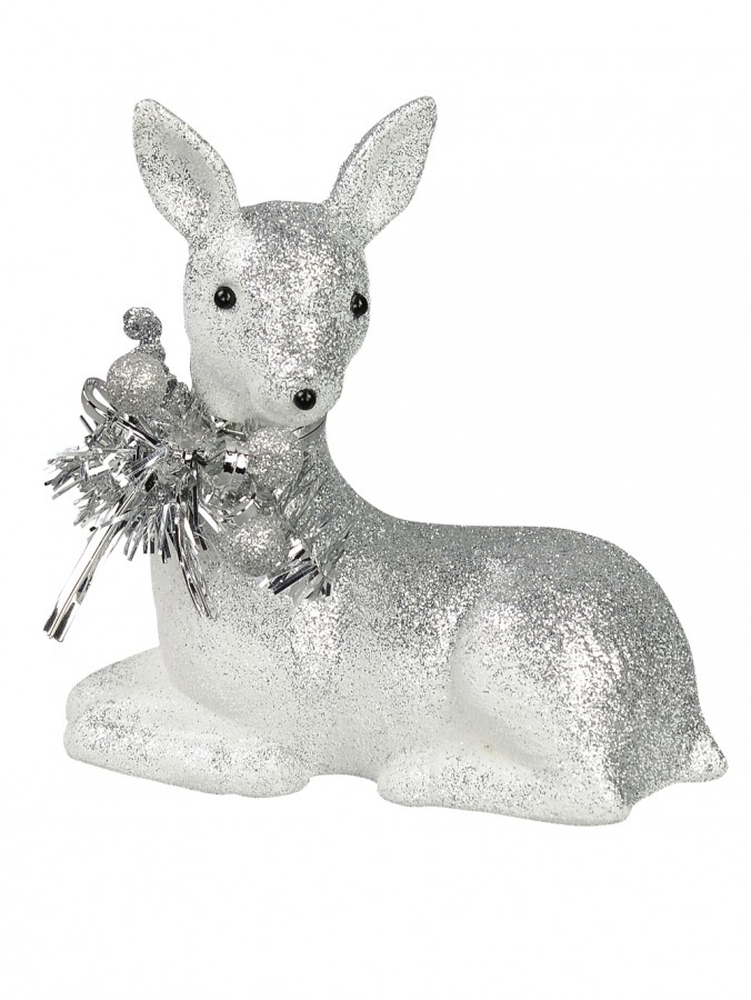 White With Silver Glitter Sitting Fawn Ornament - 12cm