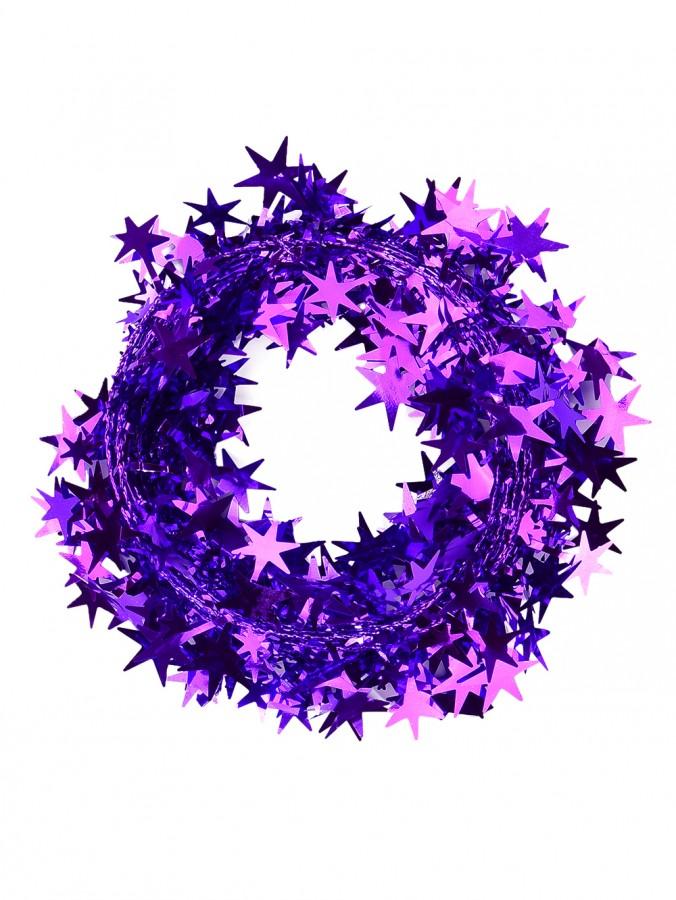 Shiny Purple Hexagram Star Wired Christmas Garland - 7.6m
