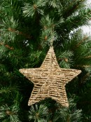 Gold Glittered Twine Wrapped Look 3D Star Hanging Decoration - 18cm