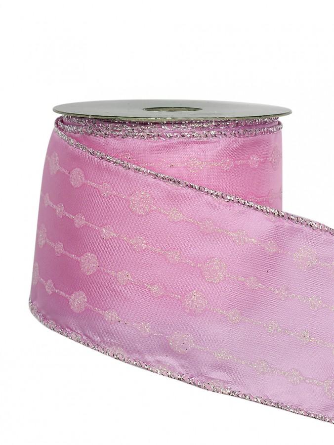 Line & Dot Pattern Pink Organza Ribbon - 3m