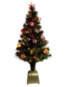 Multi Colour With Bauble & Star Decorations Fibre Optic Tree - 1.2m
