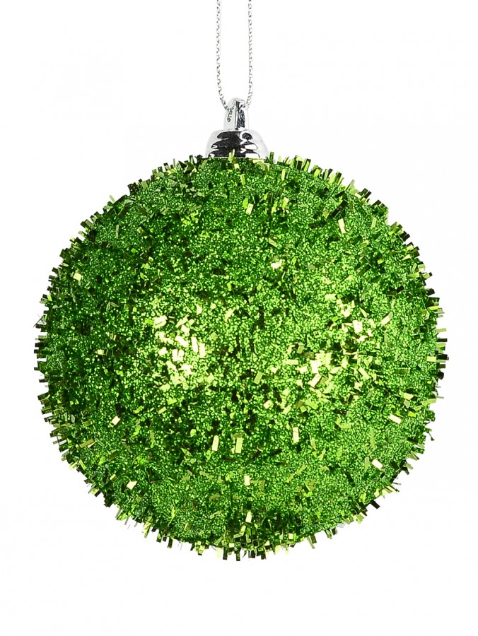 Emerald Green Metallic Long Tinsel Bauble Hanging Decoration - 80mm
