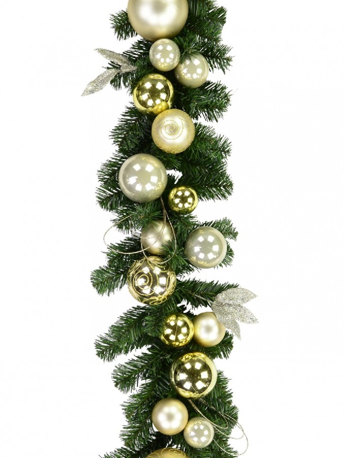 Gold & Champagne Bauble Pre-Decorated Pine Garland - 2.7m