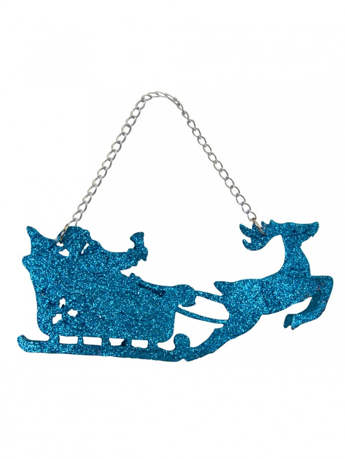 Turquoise Glittered Santa Sleigh & Reindeer Hanging Ornament - 11cm