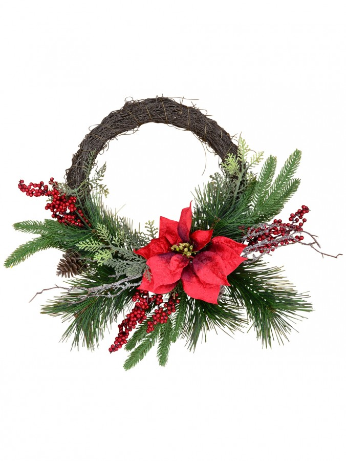 Pre-Decorated Wire Spun Wreath With Mixed Foliage & Red Poinsettia - 58cm
