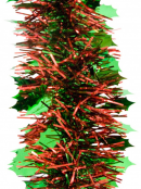 Green Holly Leaf & Red Pine Needle Christmas Tinsel Garland - 2.7m