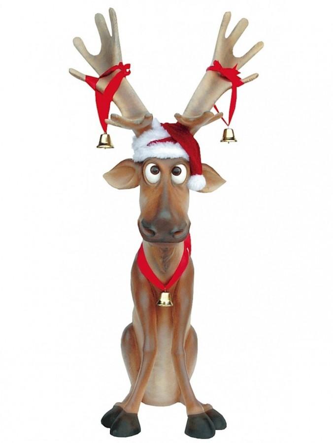 Funny Sitting Life Size Christmas Reindeer Resin Decor - 1.4m