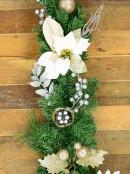Pre-Decorated White Poinsettia, Mistletoe, Berries & Baubles Pine Garland - 2.3m