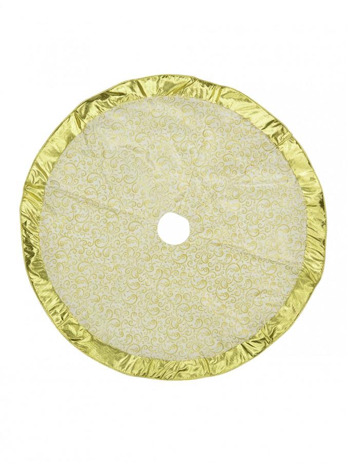 White With Gold Swirl Pattern & Gold Trim Tree Skirt - 1.2m