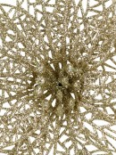 Glittered Champagne Netted Vein Leaf Decorative Poinsettia Floral Pick - 14cm
