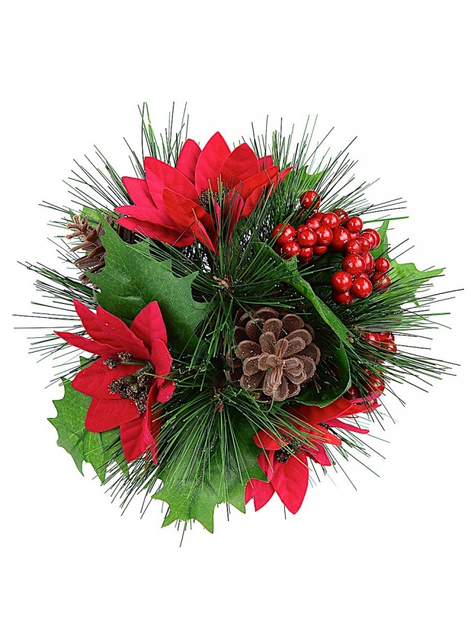 Decorated Ball Of Mistletoe Leaves, Berries, Poinsettia & Pine Cones - 21cm