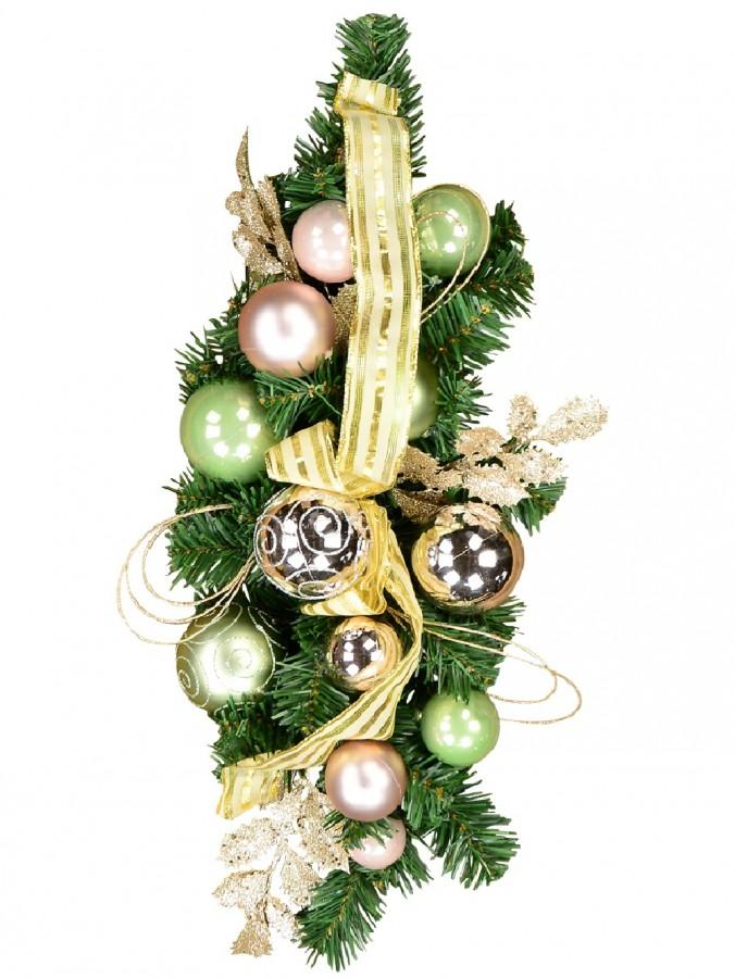 Decorated Pink & Mint Bauble, Whisker Loop & Leaf Stem Centrepiece - 60cm