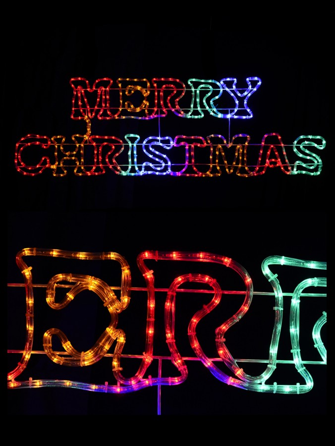 Multi Colour Merry Christmas LED Rope Light Silhouette - 1.6m