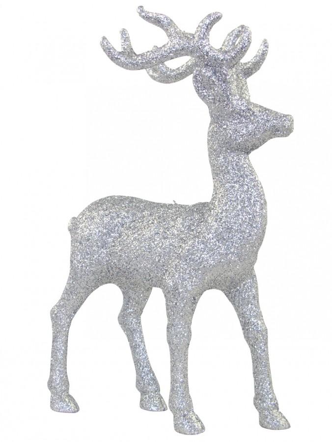 Silver Standing Reindeer Ornament - 22cm