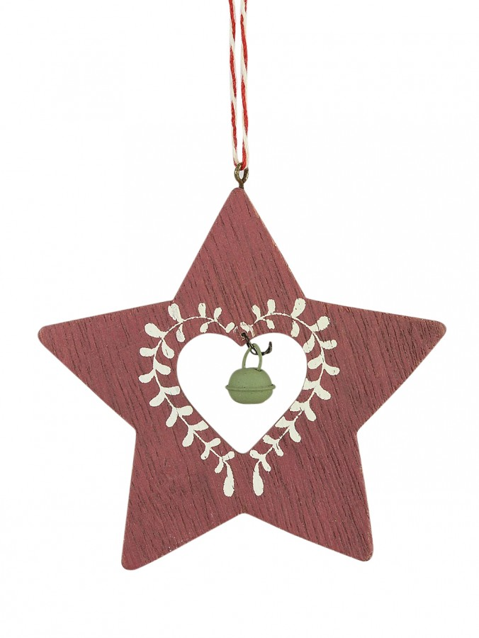 Wooden Red Star With Green Bell Hanging Ornament - 10cm