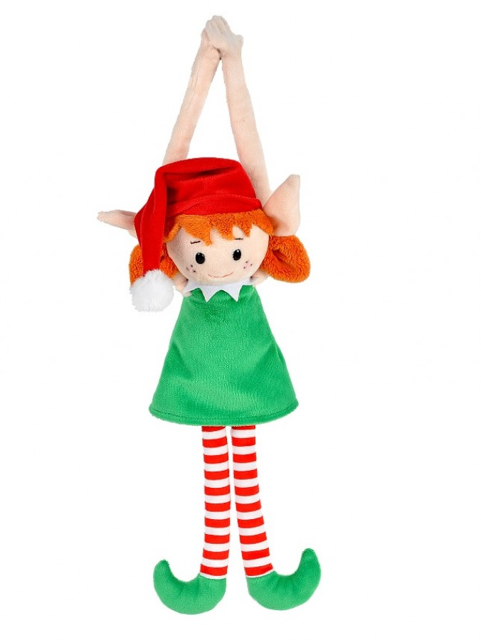 Cute & Cuddly Hanging Elf Girl Christmas Plush Toy - 19cm