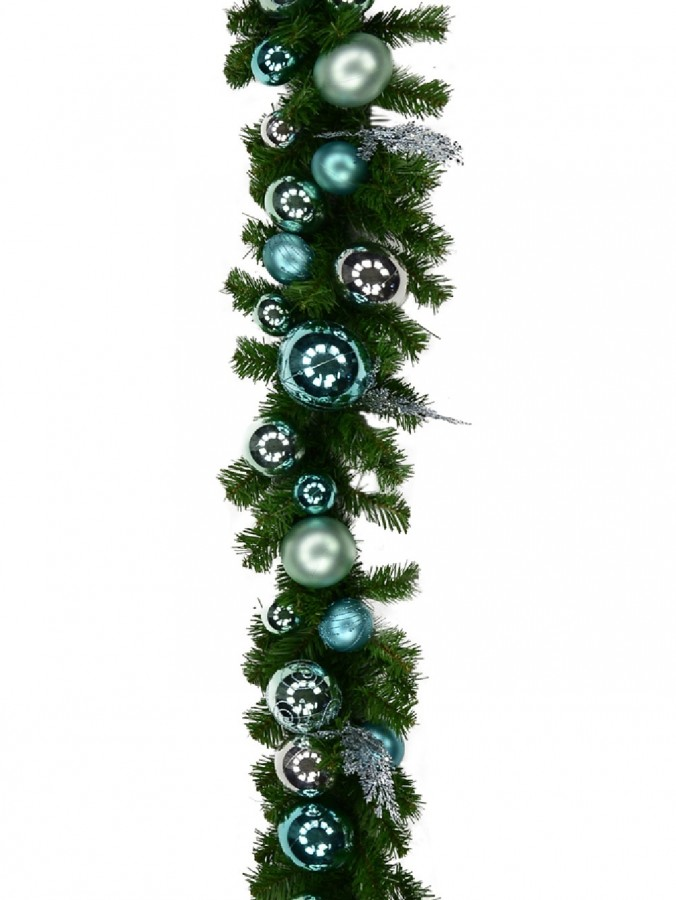 Pre-Decorated Tiffany Inspired Bauble & Pine Garland - 2.7m