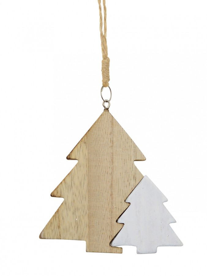Natural & White Wooden Christmas Trees Hanging Decoration - 10cm