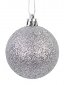 Gloss, Matte, Pearl, Glittered & Striped Silver Baubles - 64 x 60mm