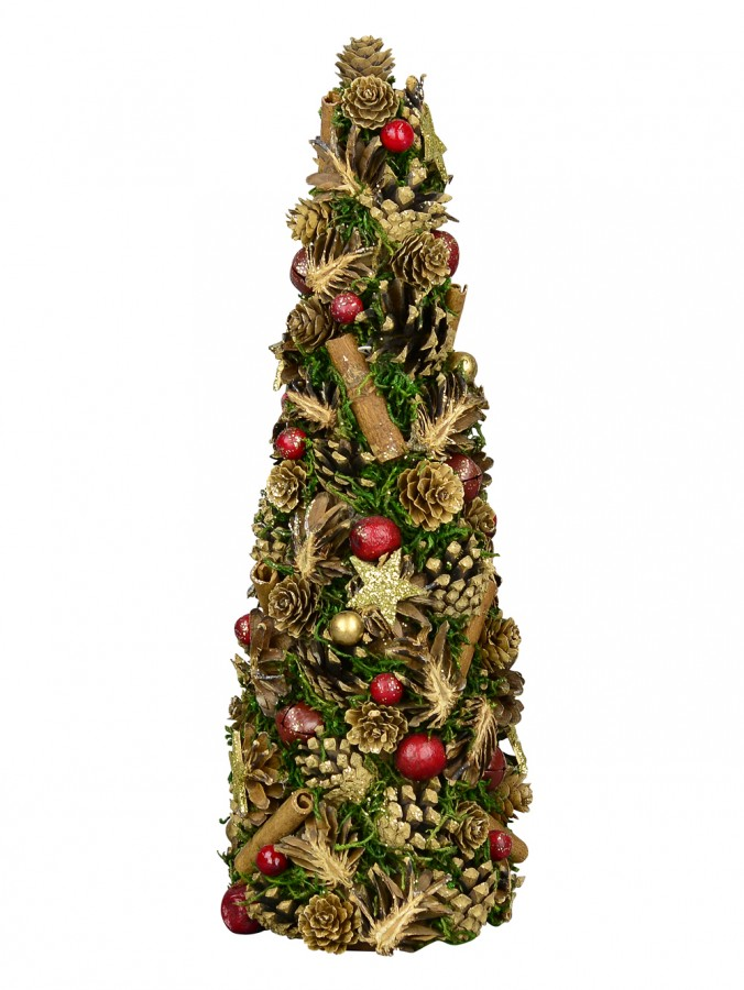 Natural Pinecone, Cinnamon Quill & Red Berry Christmas Tree Ornament - 40cm