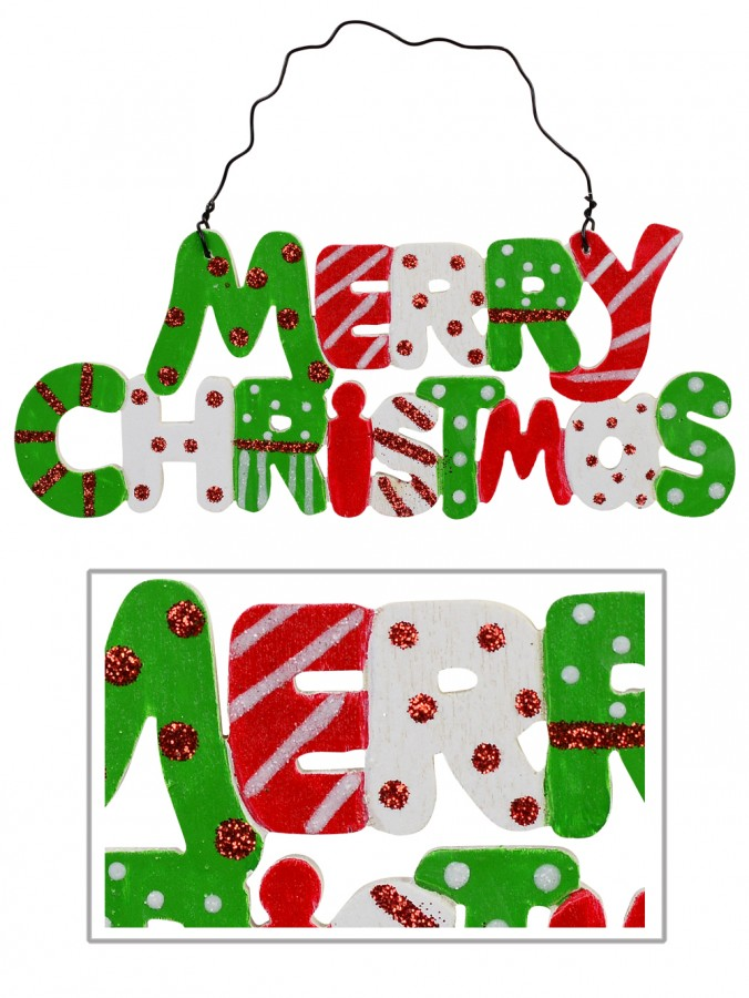 Painted Wood Merry Christmas Sign Christmas Tree Hanging Decoration - 15cm