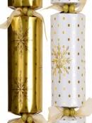 White & Gold With Dots & Snowflakes Christmas Cracker Bon Bons - 6 x 41cm