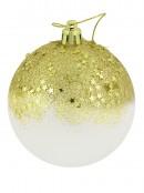 Gold Star Sequins & Glitter Opaque Baubles - 4 x  80mm