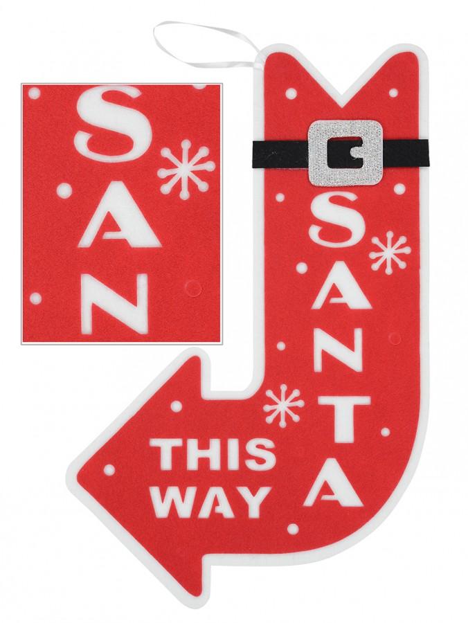 Red & White Dacron Santa This Way Motif - 55cm