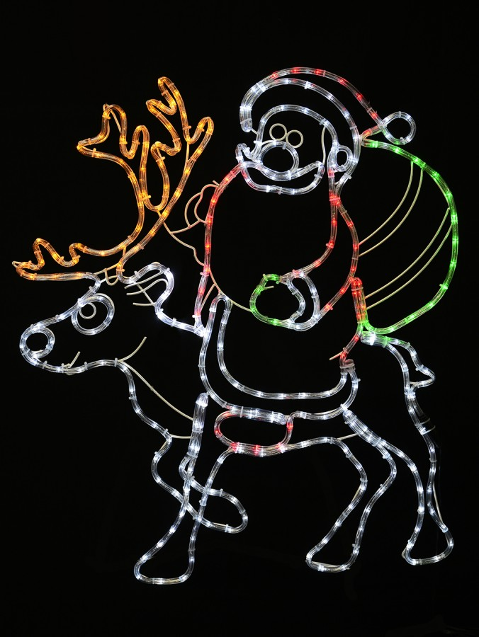 Santa Riding Reindeer Rope Light Silhouette - 93cm
