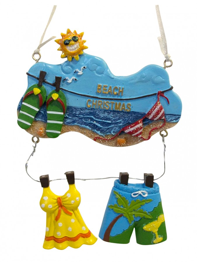 Resin Summer Swimsuit Clothes Line Hanging Ornament - 13cm