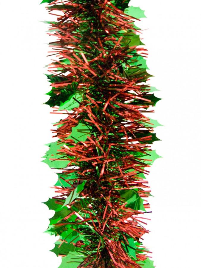 Green Holly Leaf Pine Needle Tinsel Garland - 2.7m