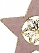 Dusty Pink Velvet Christmas Star With Poinsettia Hanging Decoration - 16cm